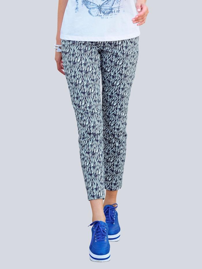 Alba Moda Nohavice s grafickým minimalistickým vzorom, Modrá/Biela/Šalviová zelená
