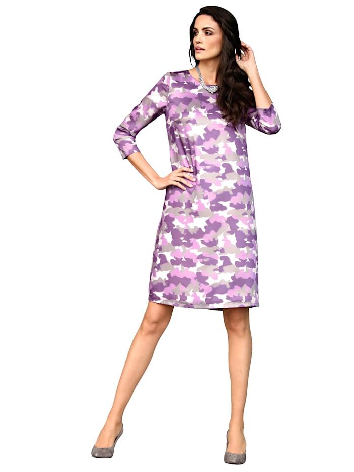 AMY VERMONT Kleid mit modischem Print, Lila/Grau/Off-white