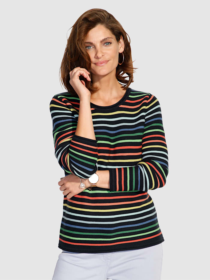MONA Pullover mit farbenfrohem Ringeldessin, Marineblau/Multicolor