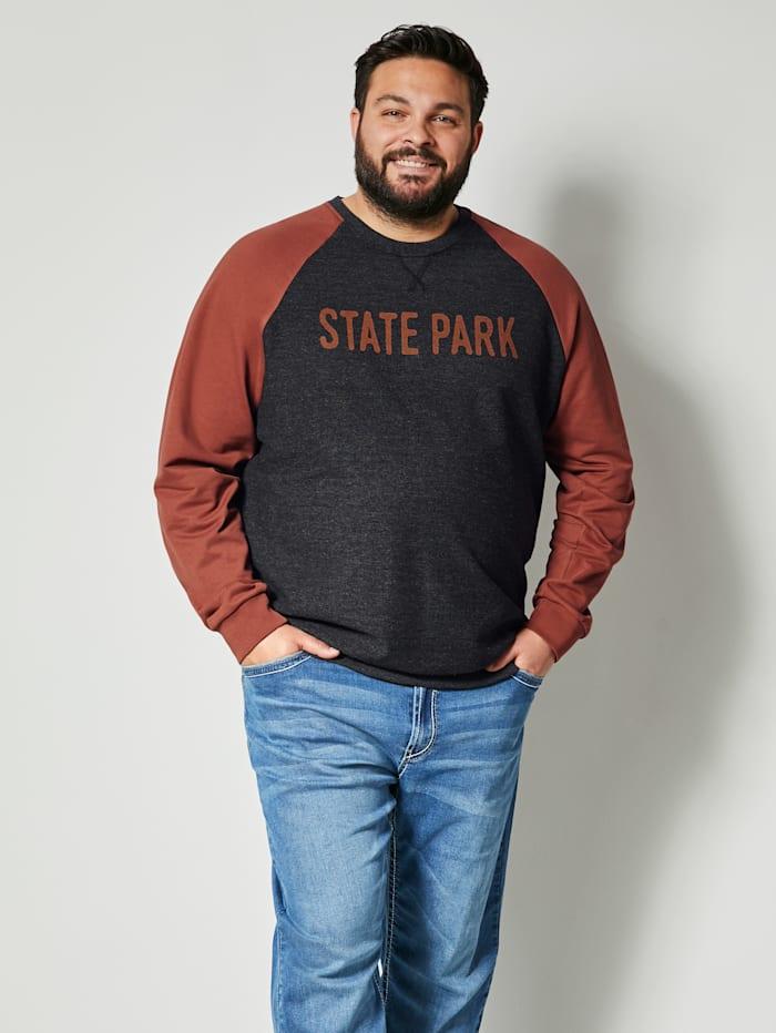 Men Plus Sweatshirt mit Raglan Ärmel, Anthrazit/Rost
