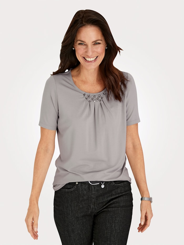 MONA Top with embellished neckline, Stone