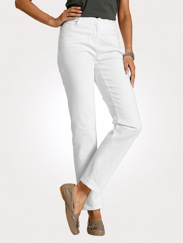 MONA Trousers with a partially elasticated waist from size 18, White