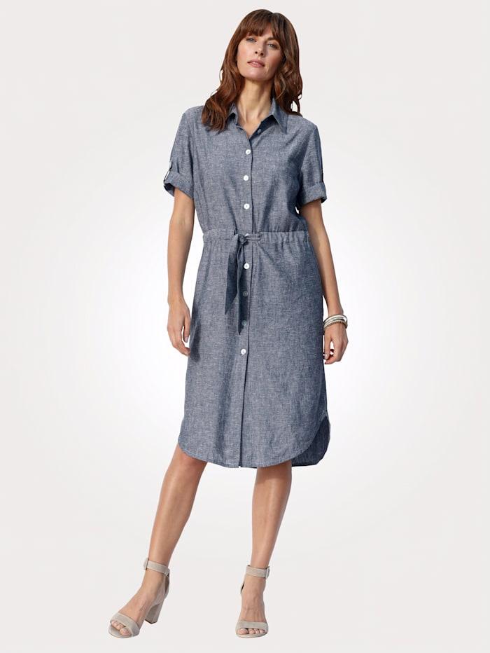 MONA Kleid in Viskose-Leinen-Mischung, Blau