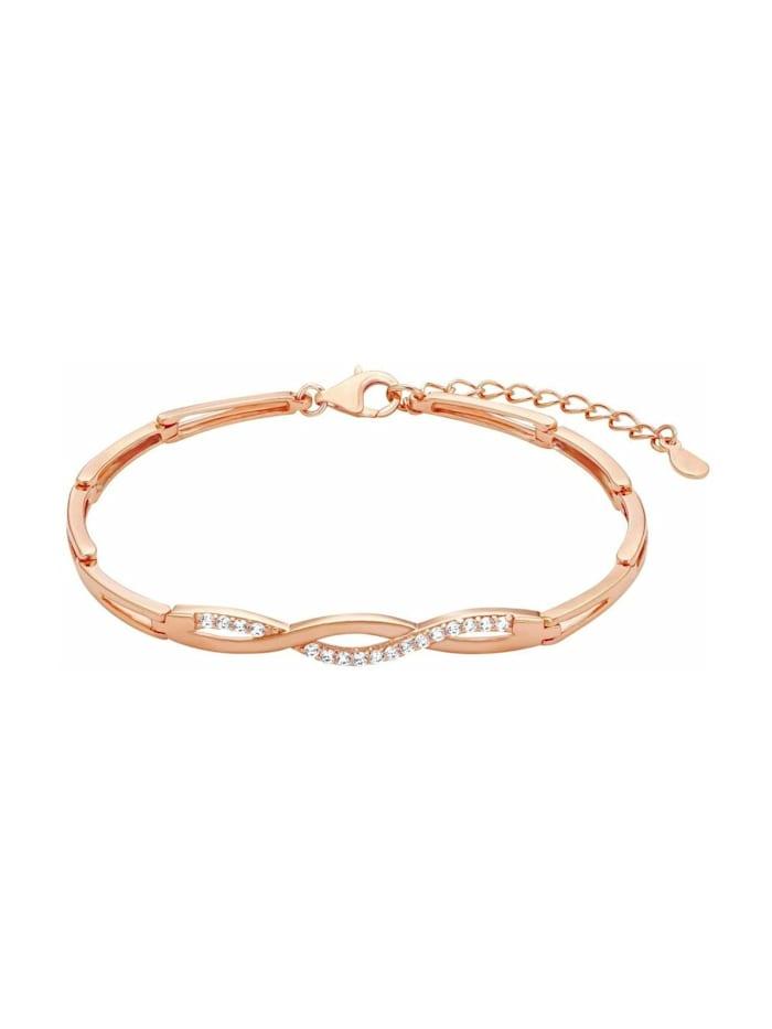 amor Armband für Damen 17+3 cm längenverstellbar 925 Silber rosévergoldet Zirkonia weiß, Bicolor