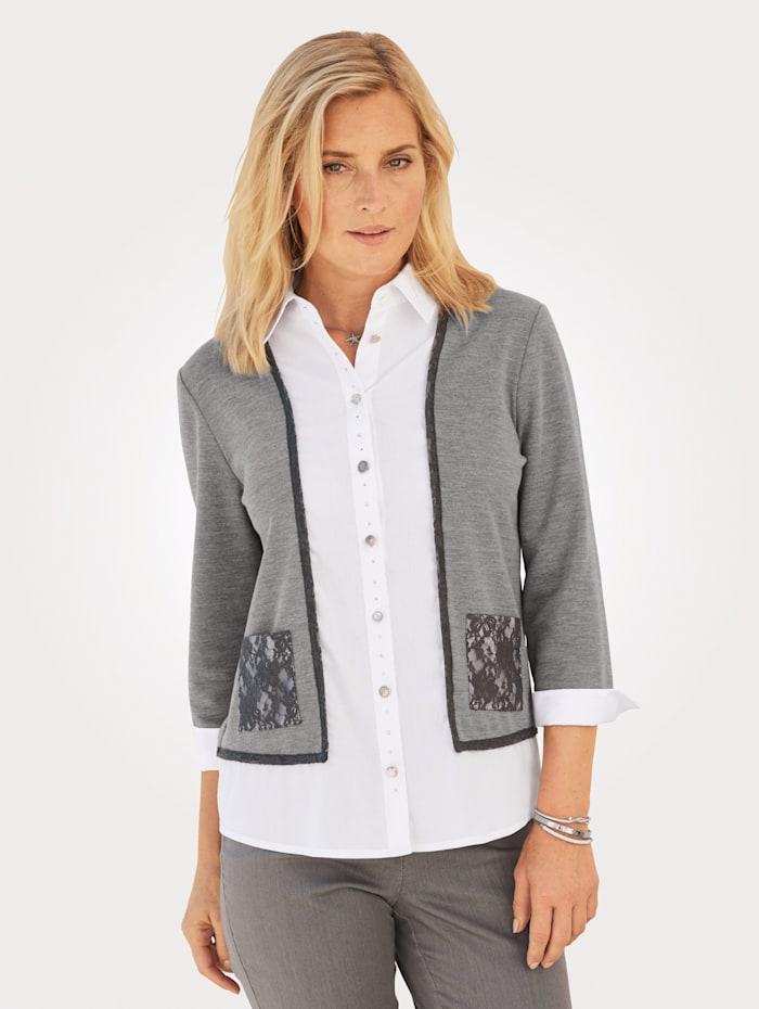 MONA Bluse mit  2in1 Optik, Weiß/Grau