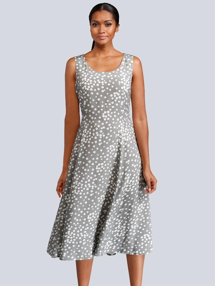 Alba Moda Kleid im Punkte-Dessin allover, Grau/Weiß