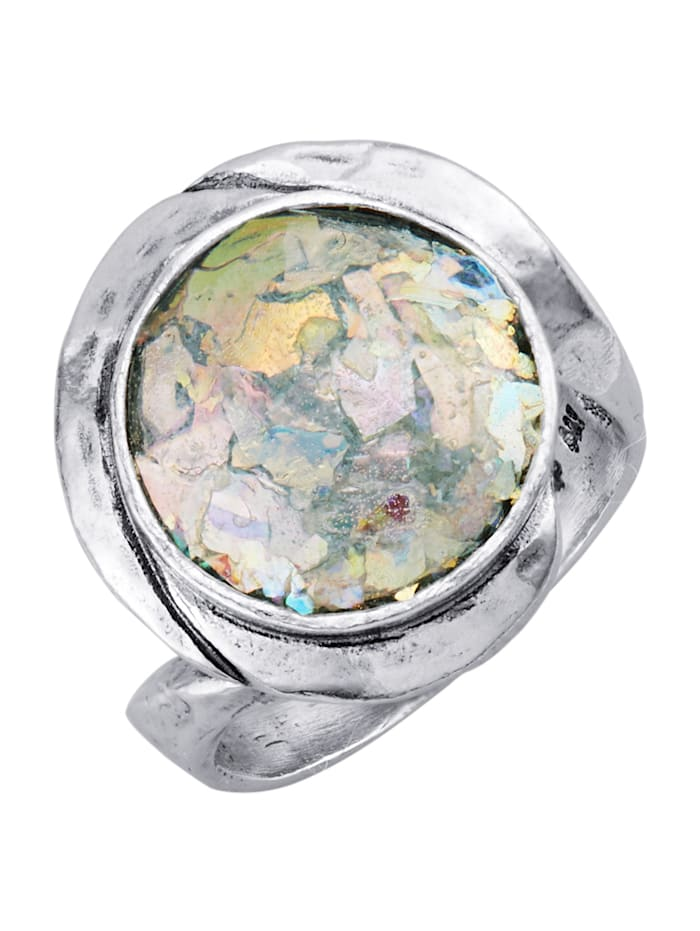 Roman Glass Damesring van echt zilver, Zilverkleur