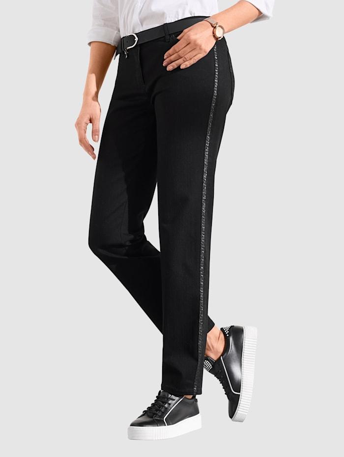 Toni Jeans mit Paillettenband, Schwarz
