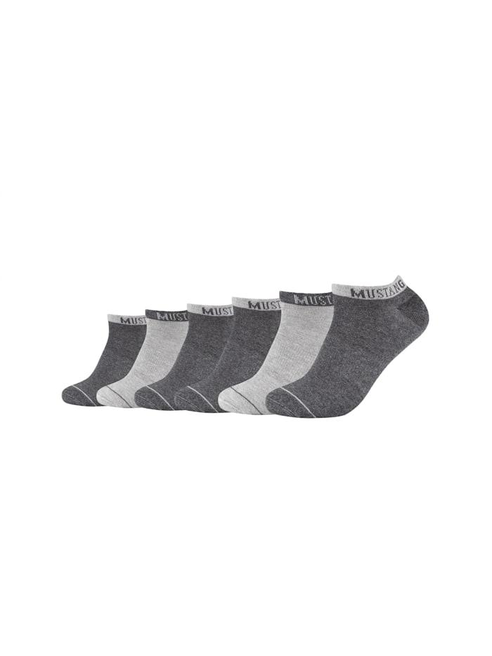 Mustang Sneakersocken 6er-Pack mit weichem Komfortbund, dark grey mix