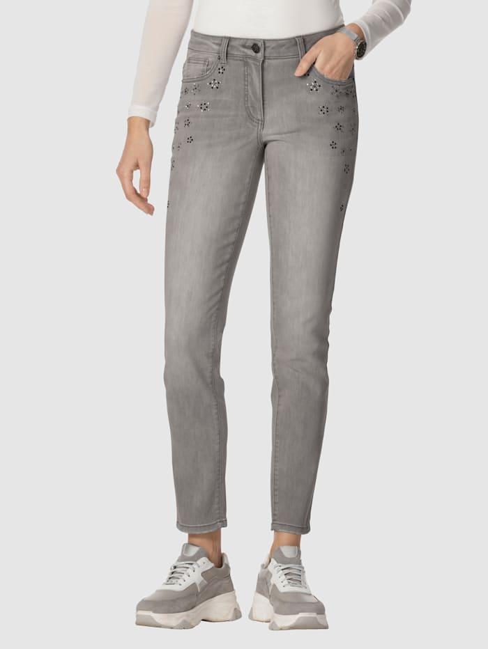 AMY VERMONT Jeans mit Strassstein-Dekoration, Grey