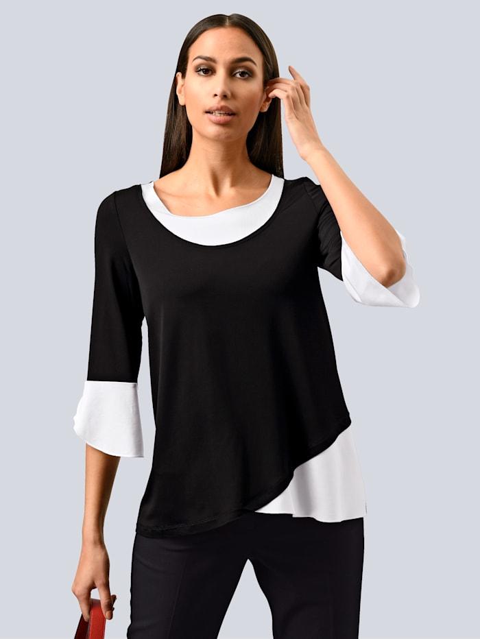 Alba Moda Shirt in modischer Lagenoptik, Schwarz/Weiß