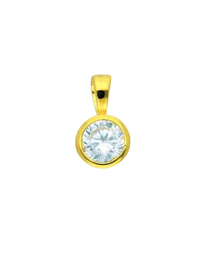 1001 Diamonds Damen Silberschmuck 925 Silber Anhänger mit Zirkonia Ø 6 mm, vergoldet