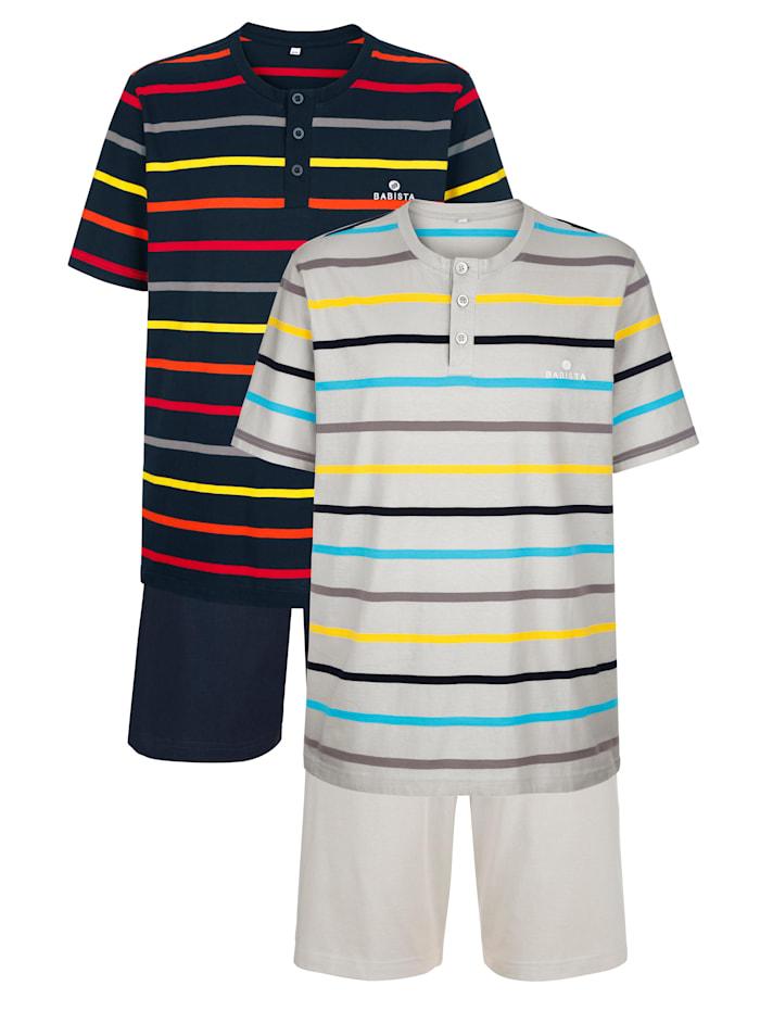 BABISTA Pyjashorts à motif rayé tissé teint, Marine/Gris