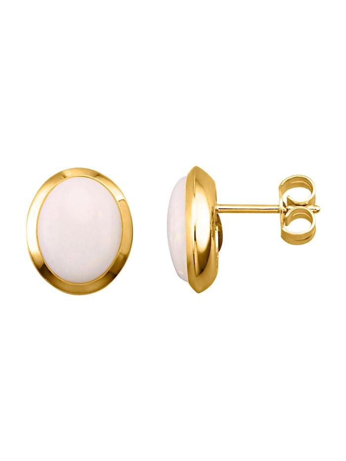Ohrstecker mit Opalen, Weiß