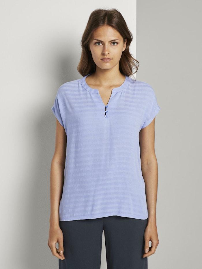 Tom Tailor T-Shirt mit Henley-Ausschnitt im Materialmix, Parisienne Blue