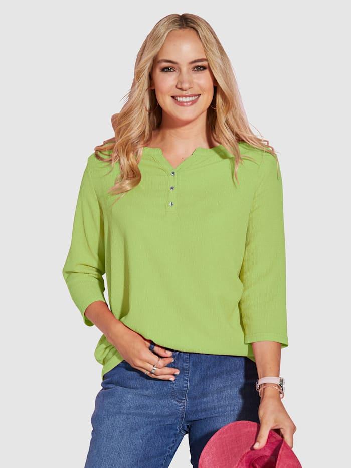 MIAMODA Shirt mit femininem Ausschnitt, Limettengrün