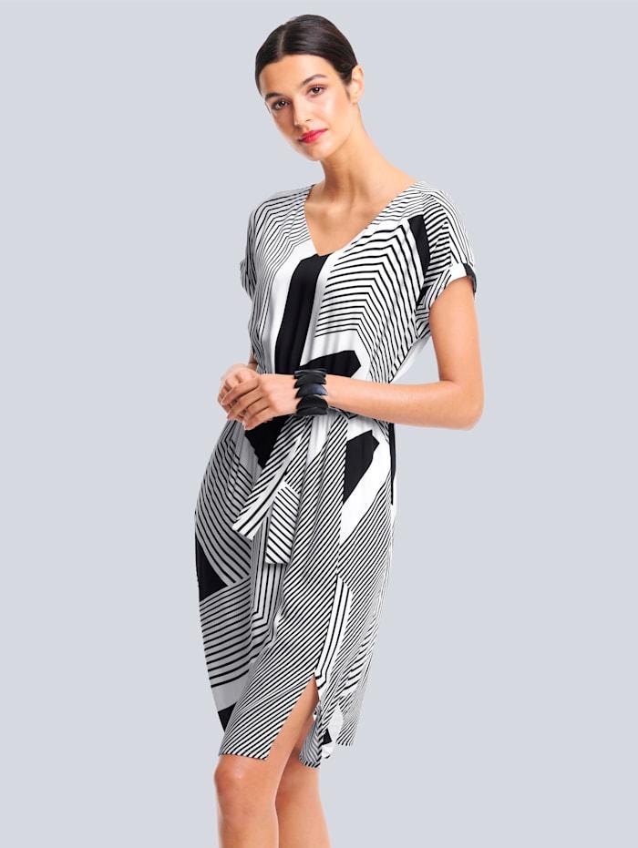 Alba Moda Klänning med grafiskt mönster, Svart/Offwhite