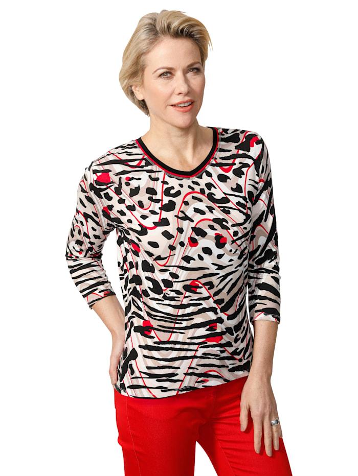 Barbara Lebek Shirt mit Allover-Druck, Beige/Rot/Schwarz