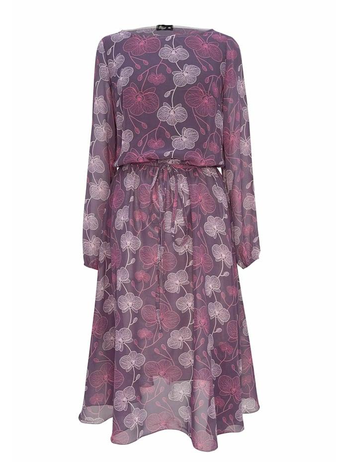 Wisell Chiffonkleid mit Blütendruck und Gürtel, rosa
