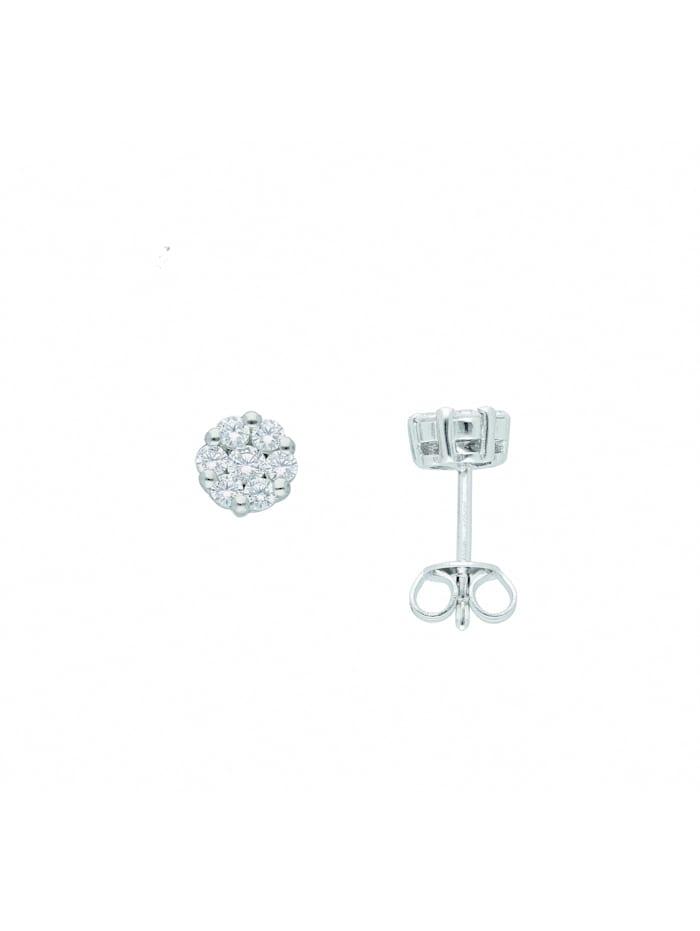 1001 Diamonds Damen Silberschmuck 925 Silber Ohrringe / Ohrstecker mit Zirkonia Ø 6,1 mm, silber