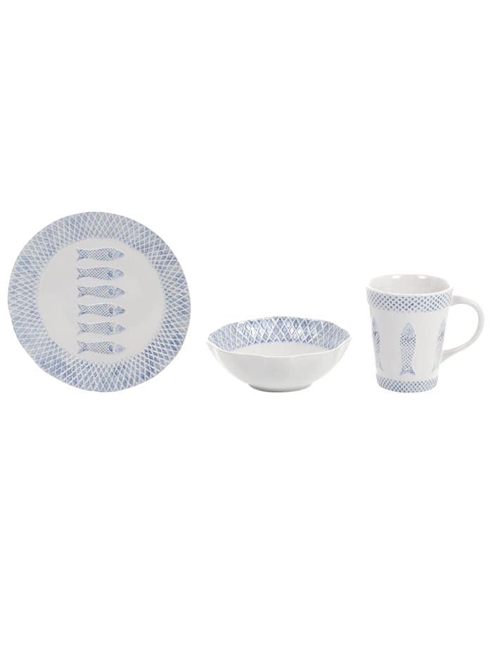 IMPRESSIONEN living Frühstücks-Set, 3-tlg., weiß/blau