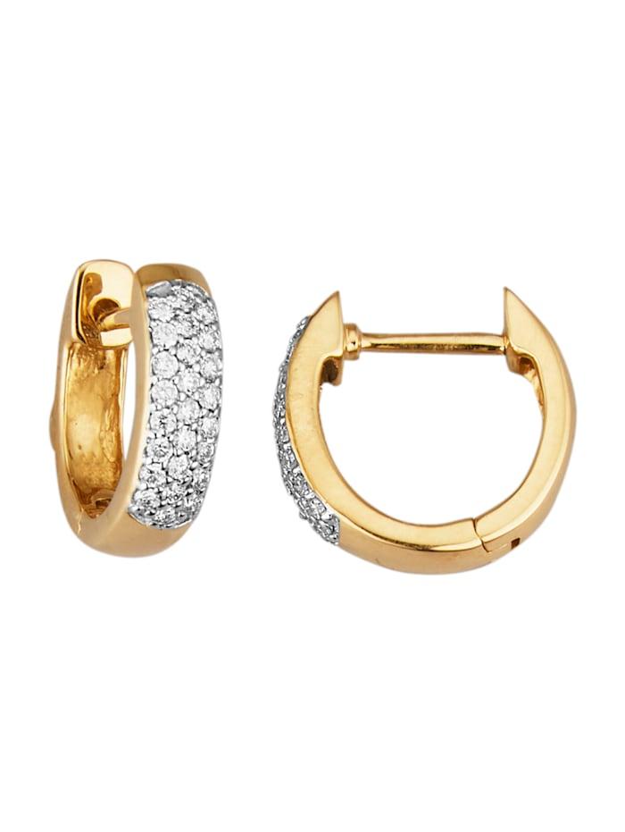 Diemer Diamant Créoles avec brillants, Coloris or jaune
