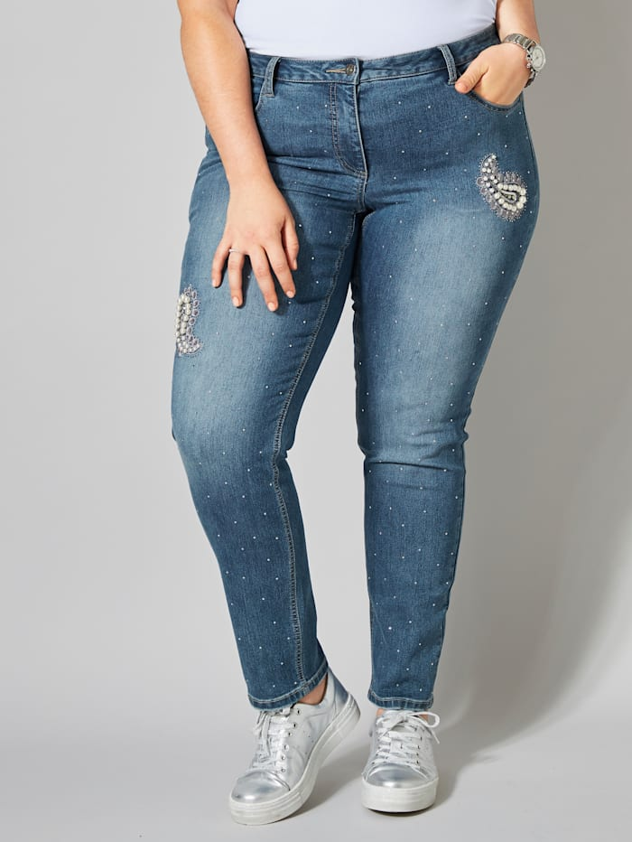 Slim Fit Jeans mit Strass und Perlen