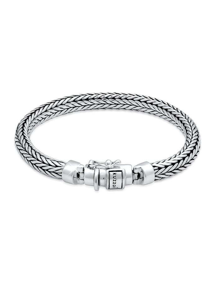 Kuzzoi Armband Herren Zopfglieder Kastenverschluss 925 Silber, Silber