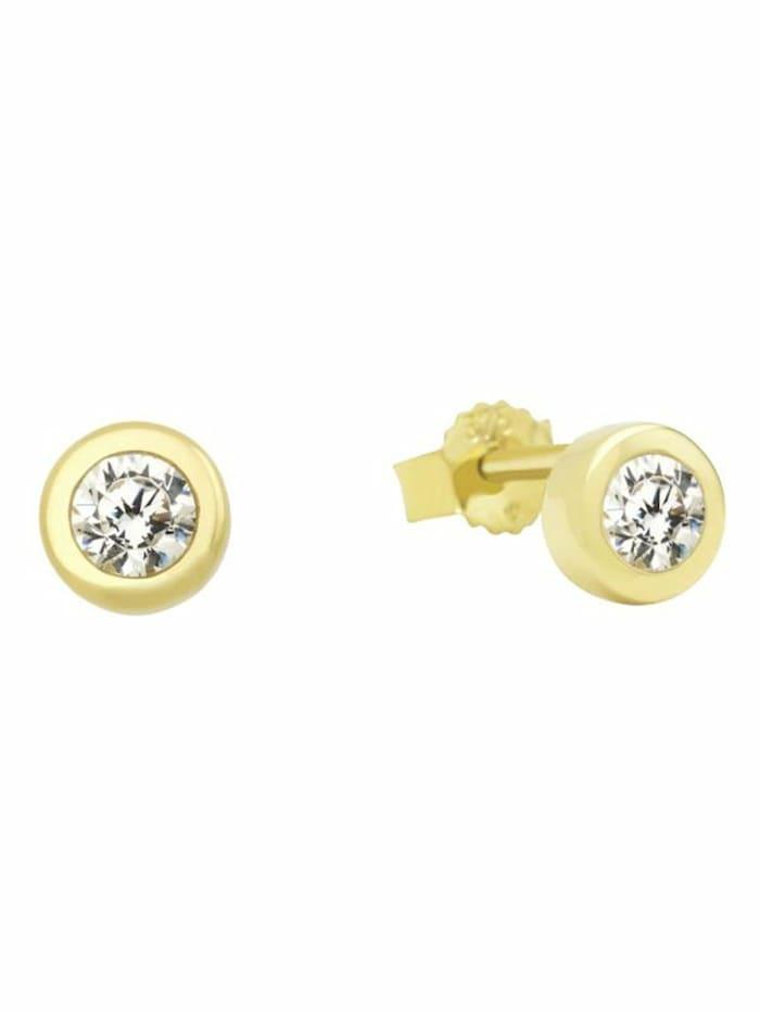 amor Ohrstecker für Damen, Gold 375, Zirkonia weiß, Gold