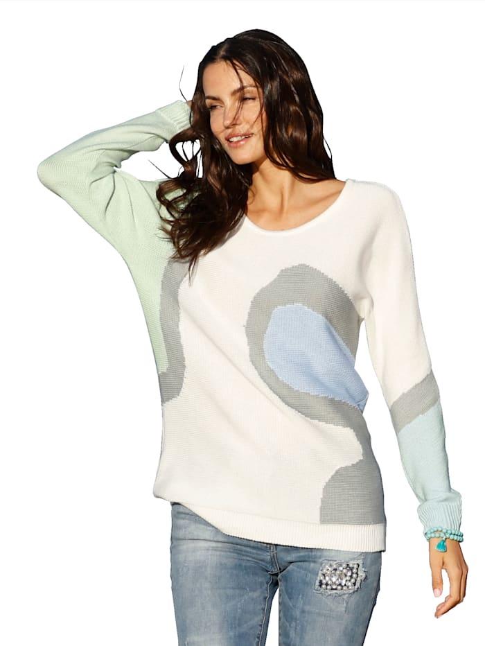 AMY VERMONT Pull-over à motifs contrastants, Blanc cassé/Gris/Bleu