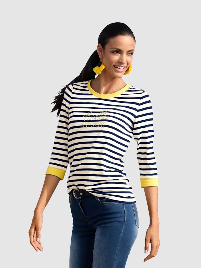 AMY VERMONT Shirt im Streifendessin und mit Strasssteindekoration im Vorderteil, Marineblau/Off-white/Gelb