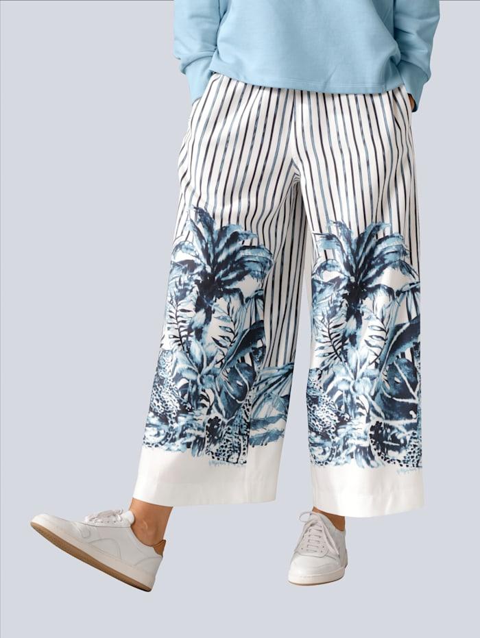 MARGITTES Hose in bequemer Schlupfform, Off-white/Marineblau