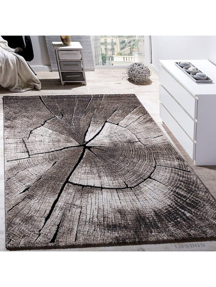 Paco Home Edler Designer Teppich Wohnzimmer Holzstamm Baum Optik Natur Grau  Braun Beige  Klingel