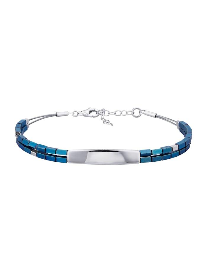 Diemer Silber 2rhg. Armband, Blau