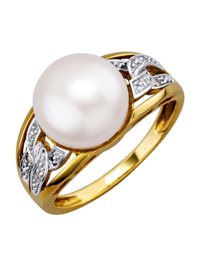 Bague dame avec perles et diamants, Jaune