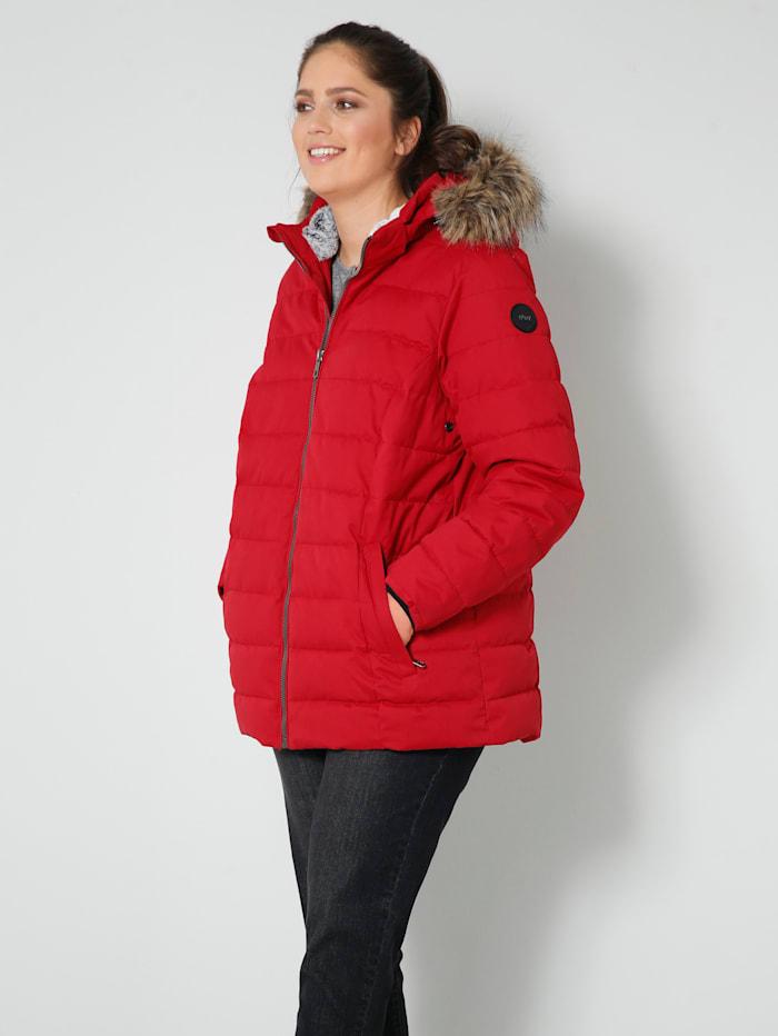 STOY BY KILLTEC Funkčná bunda v páperovom vzhľade s odnímateľnou kožušinkou, Červená