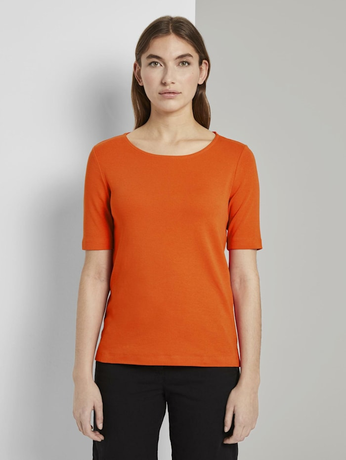 Tom Tailor Basic T-Shirt mit weitem Ausschnitt, strong flame orange