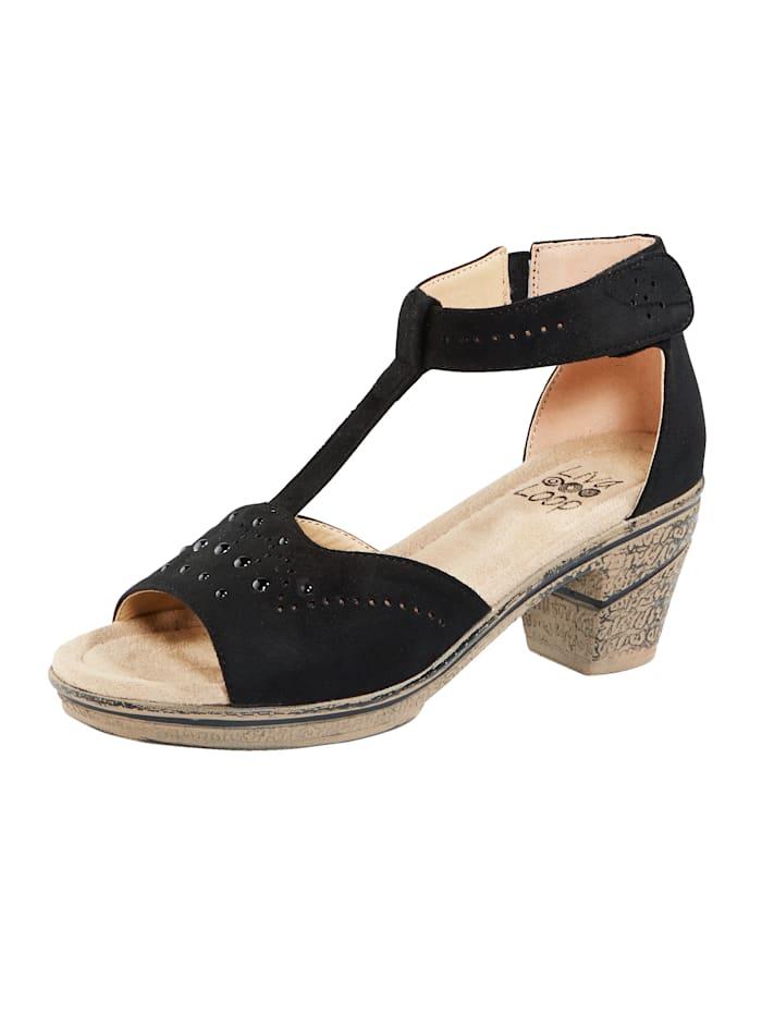 Liva Loop Sandale mit Klettriegel an der Fessel, Schwarz