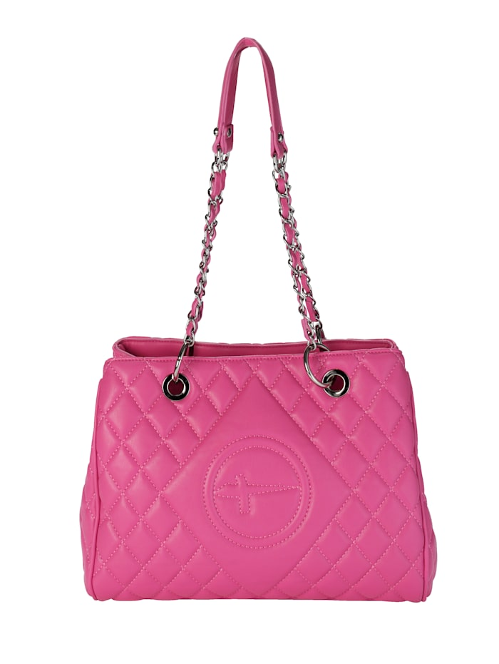 Tamaris Shopper van hoogwaardig softmateriaal met stiksels, pink