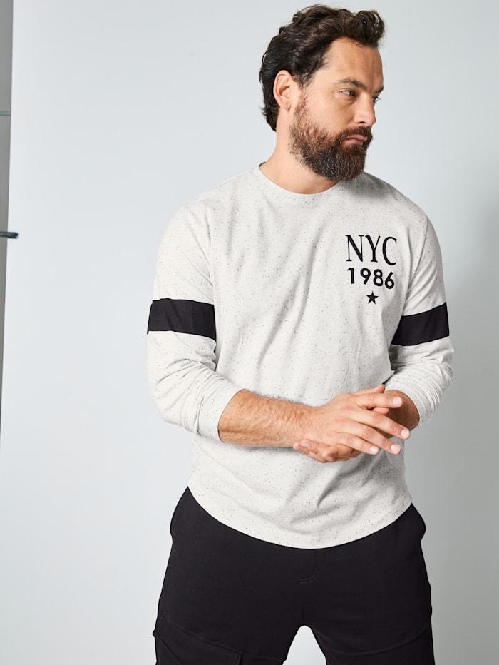 Men Plus Langarmshirt mit Effektgarn, Weiß/Schwarz