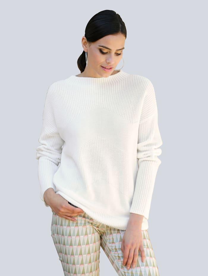 Alba Moda Pullover mit Zick-Zack-Muster, Off-white