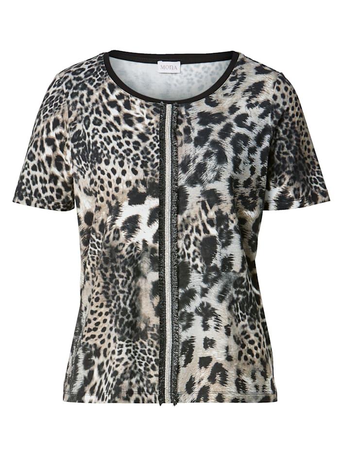 Shirt mit Strass-Steinen und Fransenzier