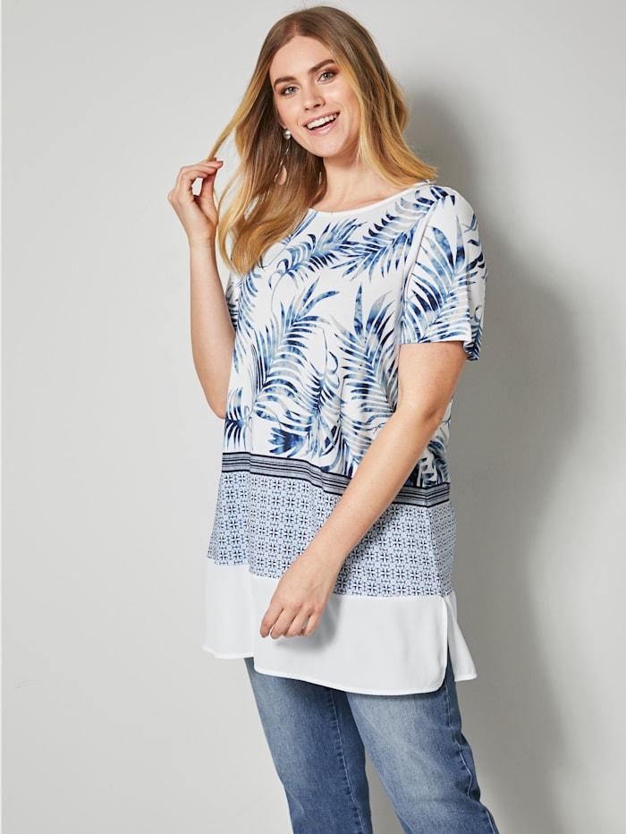 Sara Lindholm Shirt mit Blätterdessin, Weiß/Blau