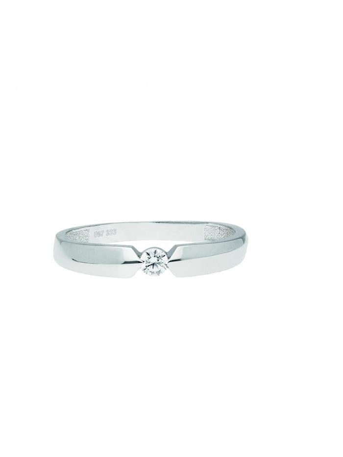 1001 Diamonds 1001 Diamonds Damen Goldschmuck 333 Weißgold Ring mit Zirkonia, silber