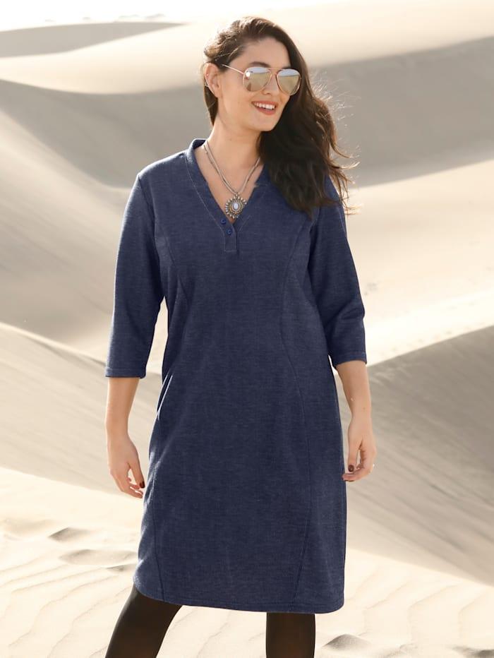 MIAMODA Shirtkleid mit dekorativen Nähten vorne, Marineblau