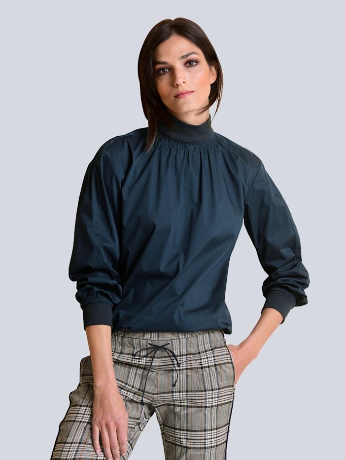 Alba Moda Bluse in elastischer Baumwoll-Polyamid Mischung, Marineblau
