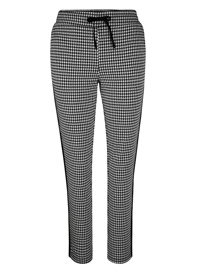 MIAMODA Kalhoty s moderním vzorem kohoutí stopy, Černá/Bílá