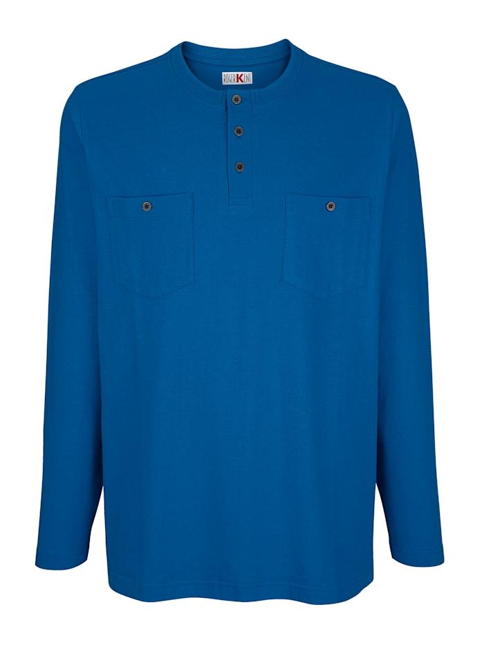 Roger Kent T-shirt à manches longues à patte boutonnée, Bleu roi