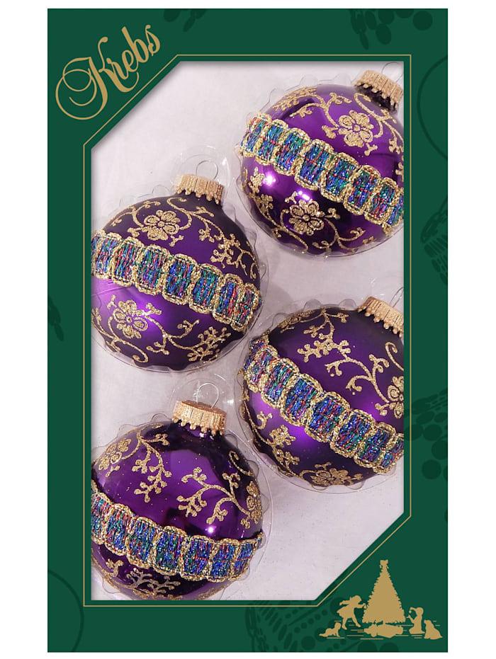 Krebs Glas Lauscha Weihnachtskugel-Set 'Royal Glitter', 4tlg., Magenta/Violett