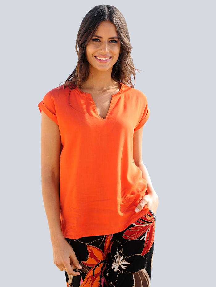 Alba Moda Blusentop mit gerundetem Saum, Orange